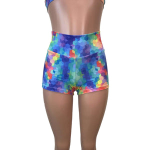 High Waisted Booty Shorts - Rainbow Geo - Peridot Clothing