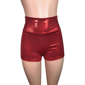 High Waisted Booty Shorts - Red Mystique - Peridot Clothing