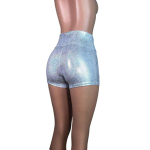 High Waisted Booty Shorts - Silver Holographic - Peridot Clothing