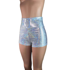 High Waisted Booty Shorts - Silver Shattered Glass - Peridot Clothing