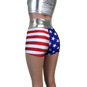 High Waisted Booty Shorts - Stars & Stripes - Peridot Clothing