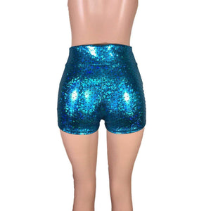 High Waisted Booty Shorts - Turquoise Mermaid Scales - Peridot Clothing