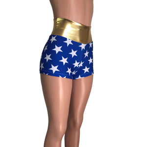 High Waisted Booty Shorts - Wonder Woman Inspired - Peridot Clothing