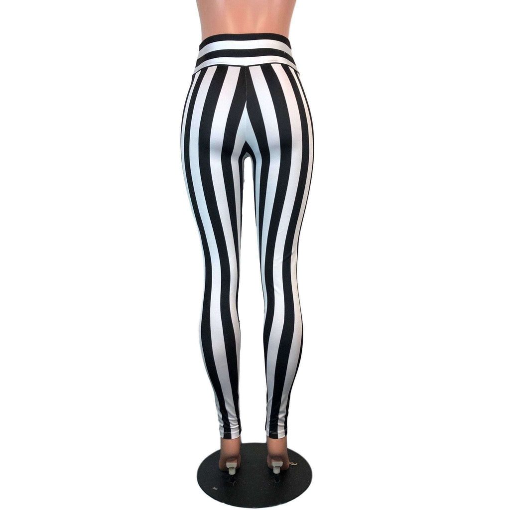 High Waisted Leggings - Black & White Stripe - Peridot Clothing