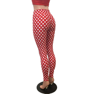 High Waisted Leggings - Red & White Polka Dot Minnie - Peridot Clothing