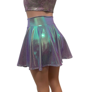 High Waisted Skater Skirt - Lilac Iridescent Holographic - Peridot Clothing