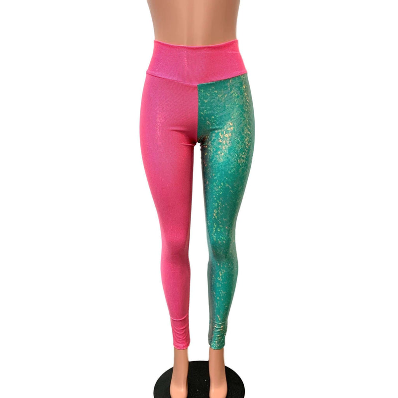 Holographic Colorblock Leggings - Pink and Jade Shattered Glass - Peridot Clothing