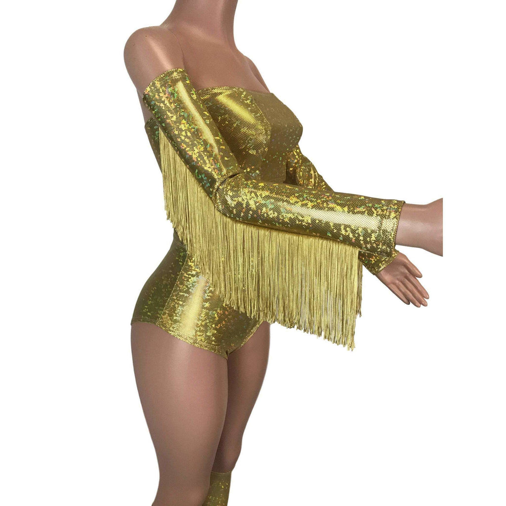 Holographic Fringe Gold Shattered Glass Arm Sleeves - Peridot Clothing