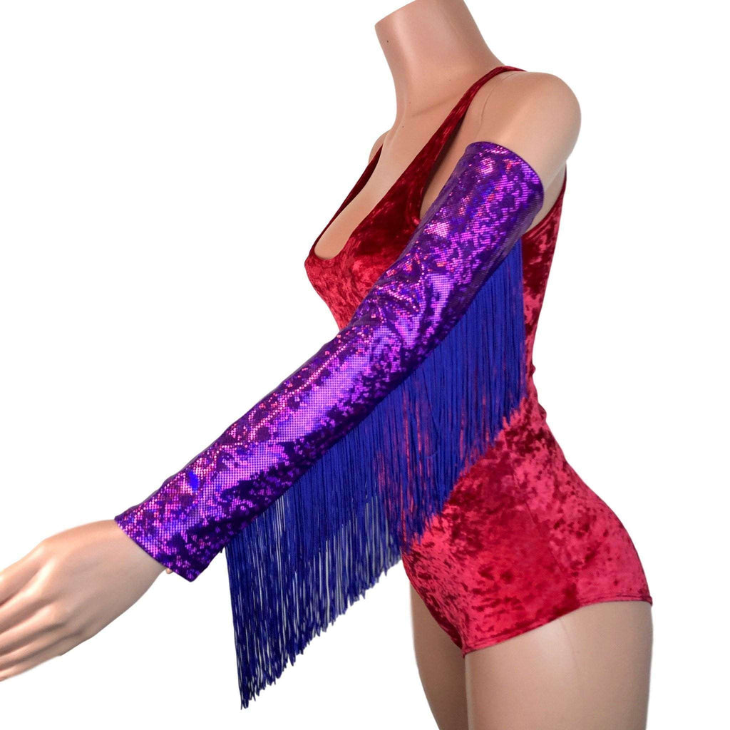 Holographic Fringe Purple Shattered Glass Arm Sleeves - Peridot Clothing