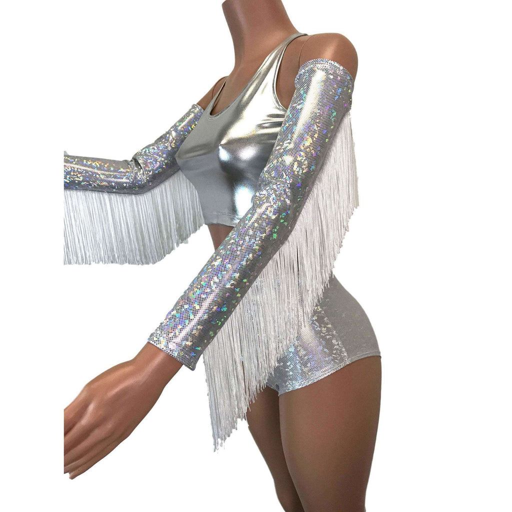 Holographic Fringe Silver Shattered Glass Arm Sleeves - Peridot Clothing
