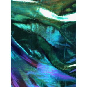 Holographic Oil Slick Poly Spandex Stretch Fabric by-the-yard - Peridot Clothing