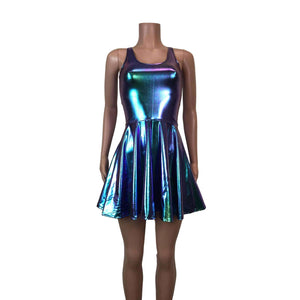 Holographic Oil Slick Skater fit n flare Tank Dress - Peridot Clothing