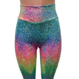 Holographic Rainbow Stirrup Leggings - Peridot Clothing