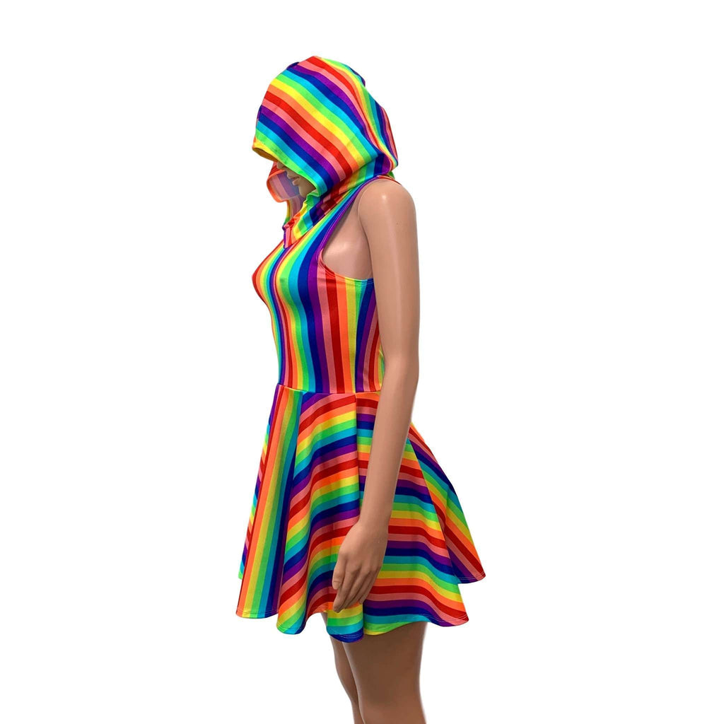 Hooded Rainbow Skater Dress - Pride Fit n Flare Dress, dresses