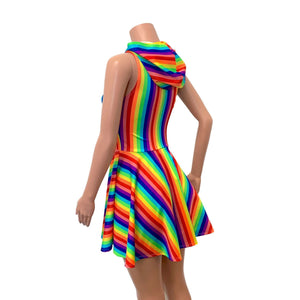 Hooded Rainbow Skater Dress - Pride Fit n Flare Dress - Peridot Clothing