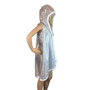 Hooded Sleeveless Fur Trim Rave Kimono Robe - Silver Shattered Glass Holographic - Peridot Clothing