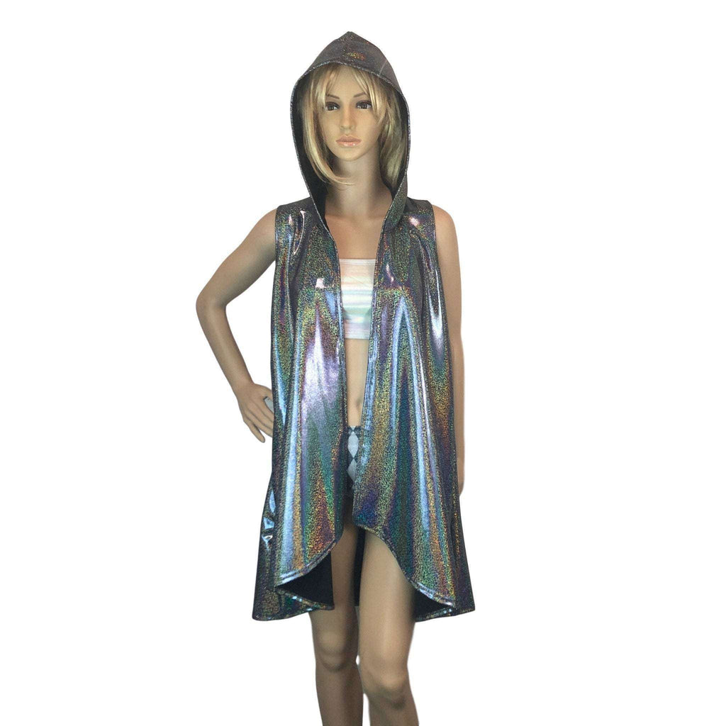 Hooded Sleeveless Rave Kimono Robe - Gleaming Silver Holographic - Peridot Clothing
