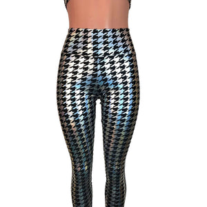 Houndstooth Holographic Leggings Pants - Peridot Clothing