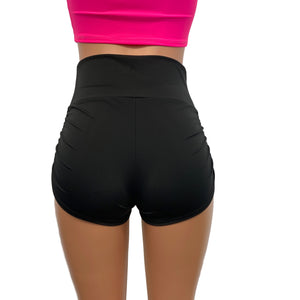 Ruched High Waist Booty Shorts - Athletic Spandex - Peridot Clothing