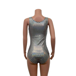 Keyhole Bodysuit - Silver Mermaid Scale Holographic - Peridot Clothing