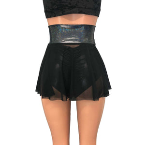 Lace-Up Corset Skirt - Black Mesh w/ Black Shattered Glass - Peridot Clothing