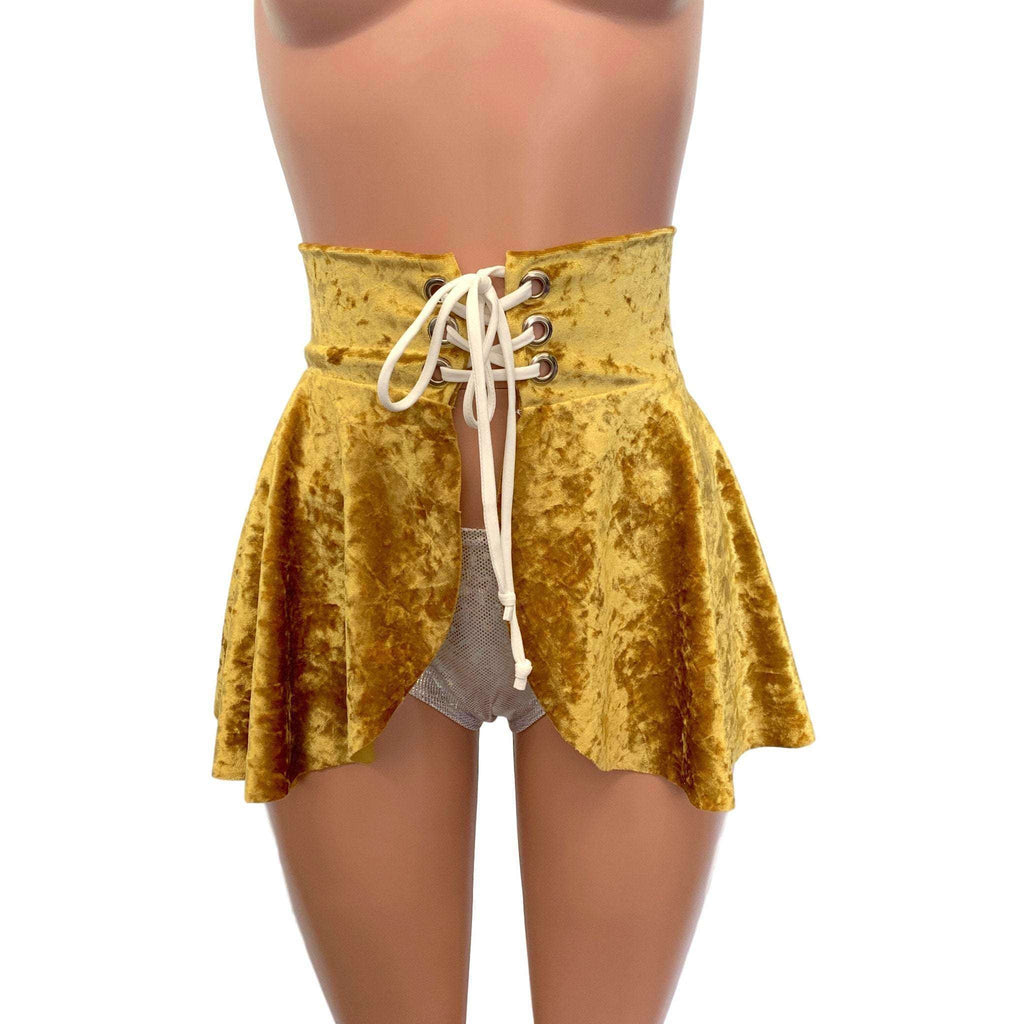 Lace-Up Corset Skirt - Gold Crushed Velvet, skirts