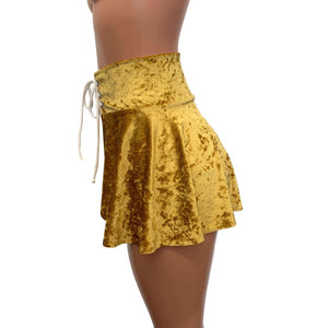 Lace-Up Corset Skirt - Gold Crushed Velvet - Peridot Clothing