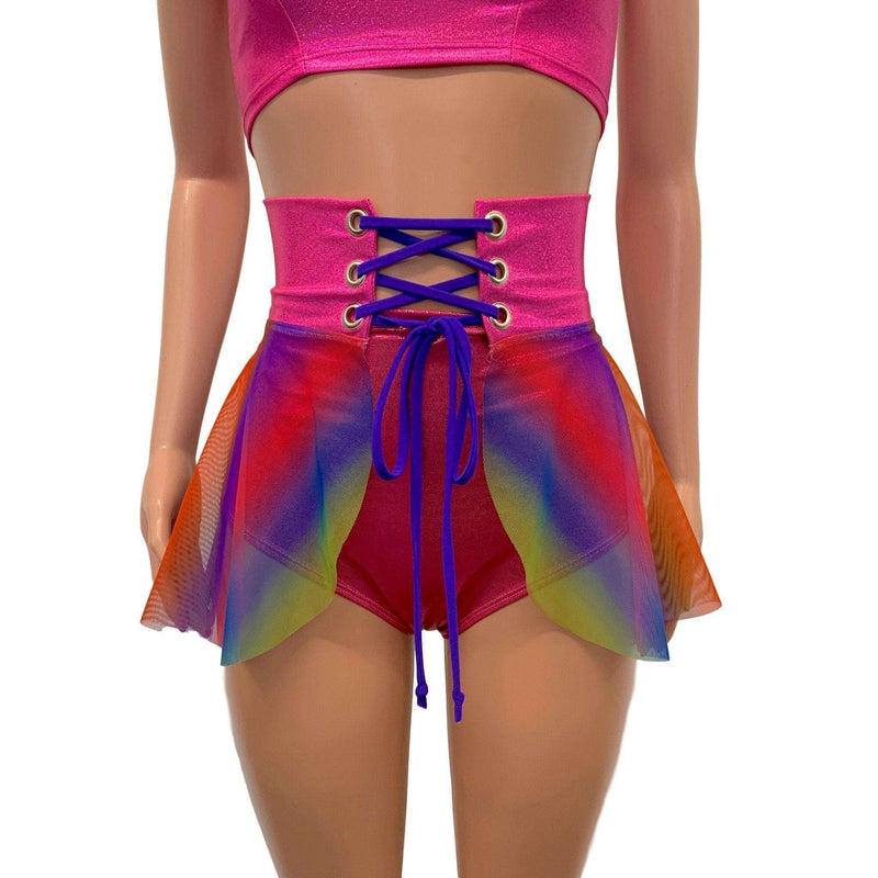 Lace-Up Corset Skirt - Rainbow Mesh w/Pink Sparkle, skirts
