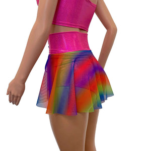 Lace-Up Corset Skirt - Rainbow Mesh w/Pink Sparkle - Peridot Clothing