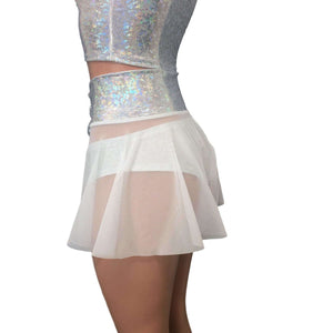 Lace-Up Corset Skirt - White Mesh w/ Silver Shattered Glass - Peridot Clothing