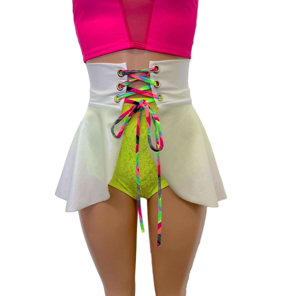 Lace-Up Corset Skirt - White Metallic Mystique w/Neon Ties - Peridot Clothing