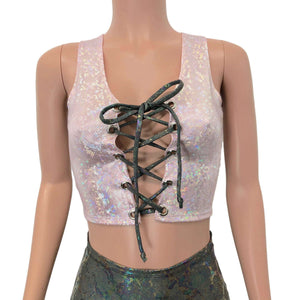 Lace-Up Crop Tank Top - Pink Shattered Glass Holographic - Peridot Clothing