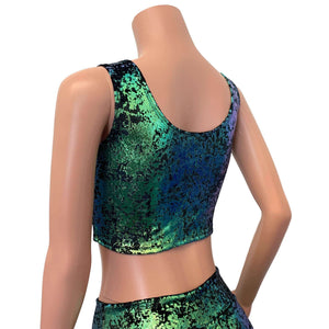 Lace-Up Crop Top - Green on Black Gilded Velvet - Peridot Clothing