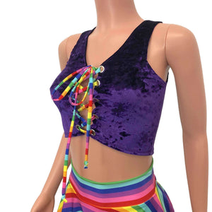 Lace-Up Crop Top - Purple Crushed Velvet & Rainbow - Peridot Clothing