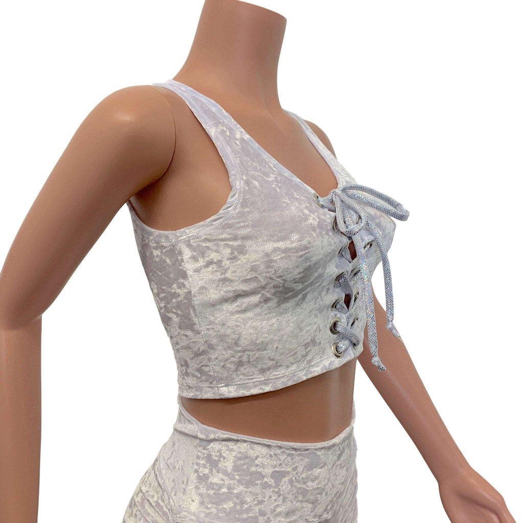 Lace-Up Crop Top - White Crushed Velvet & Silver Holo, women's tops
