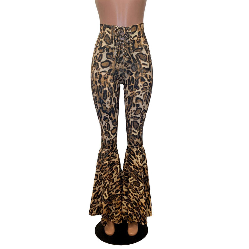 Lace-Up High Waist Bell Bottoms - Leopard - Peridot Clothing