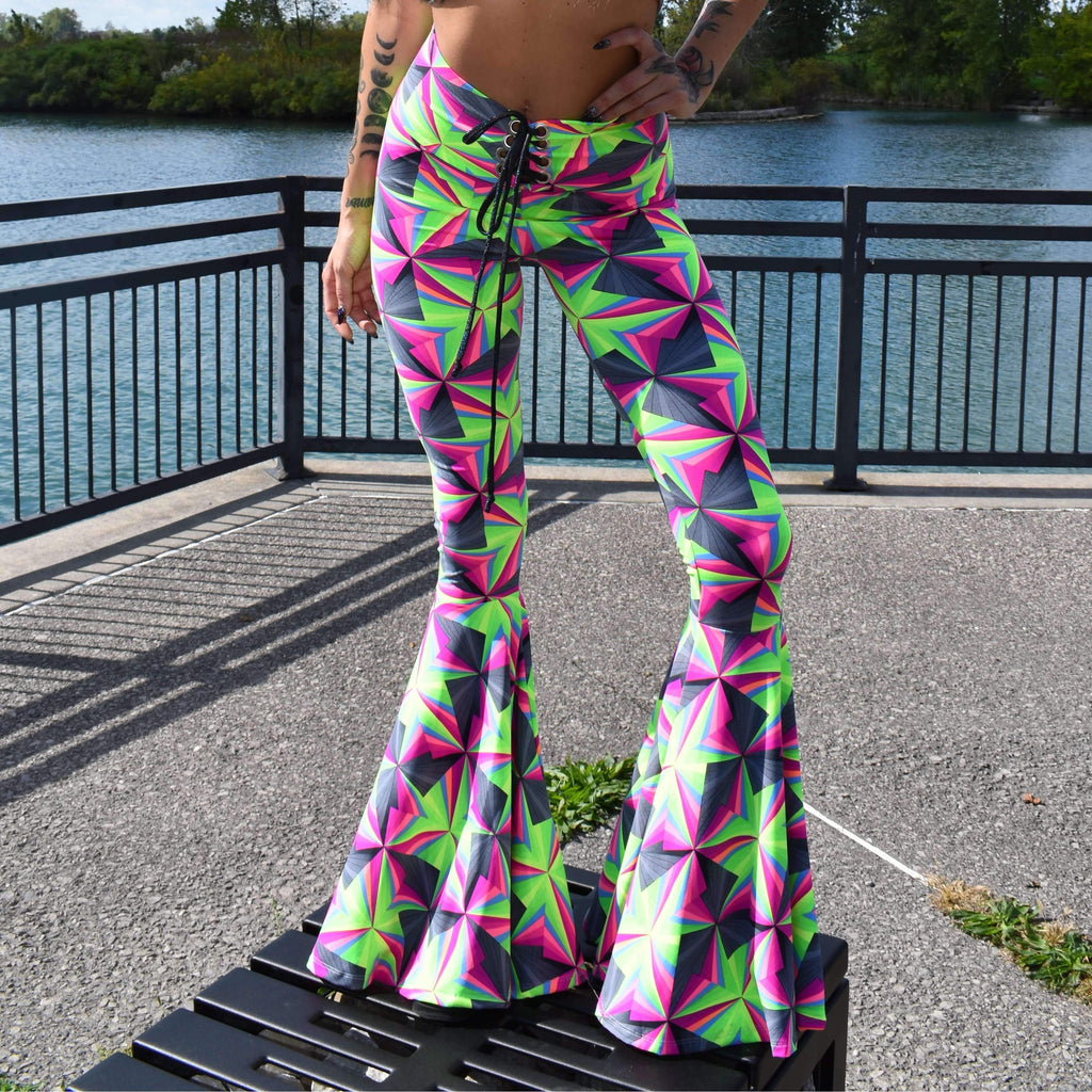 Lace-Up High Waist Bell Bottoms - Optima Neon - Peridot Clothing