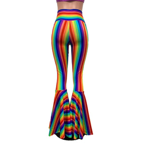 Rainbow Pride High Waist Lace-Up Bell Bottom Flares - Peridot Clothing