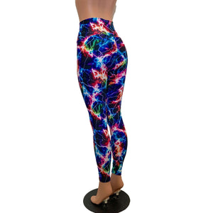 Lace-Up High Waist Leggings - Cosmic Thunder UV GLow - Peridot Clothing