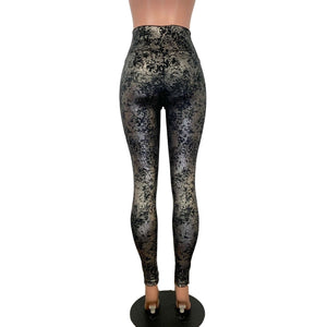 Lace-Up High Waist Leggings - Gunmetal on Black Gilded Velvet - Peridot Clothing