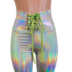 Lace-Up High Waist Leggings - Opal Holographic Iridescent - Peridot Clothing