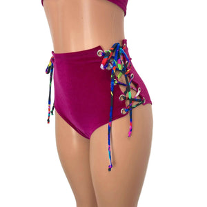Lace-Up High Waist Scrunch Bikini - Fuchsia Pink Velvet - Peridot Clothing
