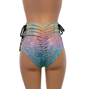 Lace-Up High Waist Scrunch Bikini - Rainbow Avatar - Peridot Clothing