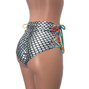 Lace-Up High Waist Scrunch Bikini - Silver Mermaid Scale - Peridot Clothing