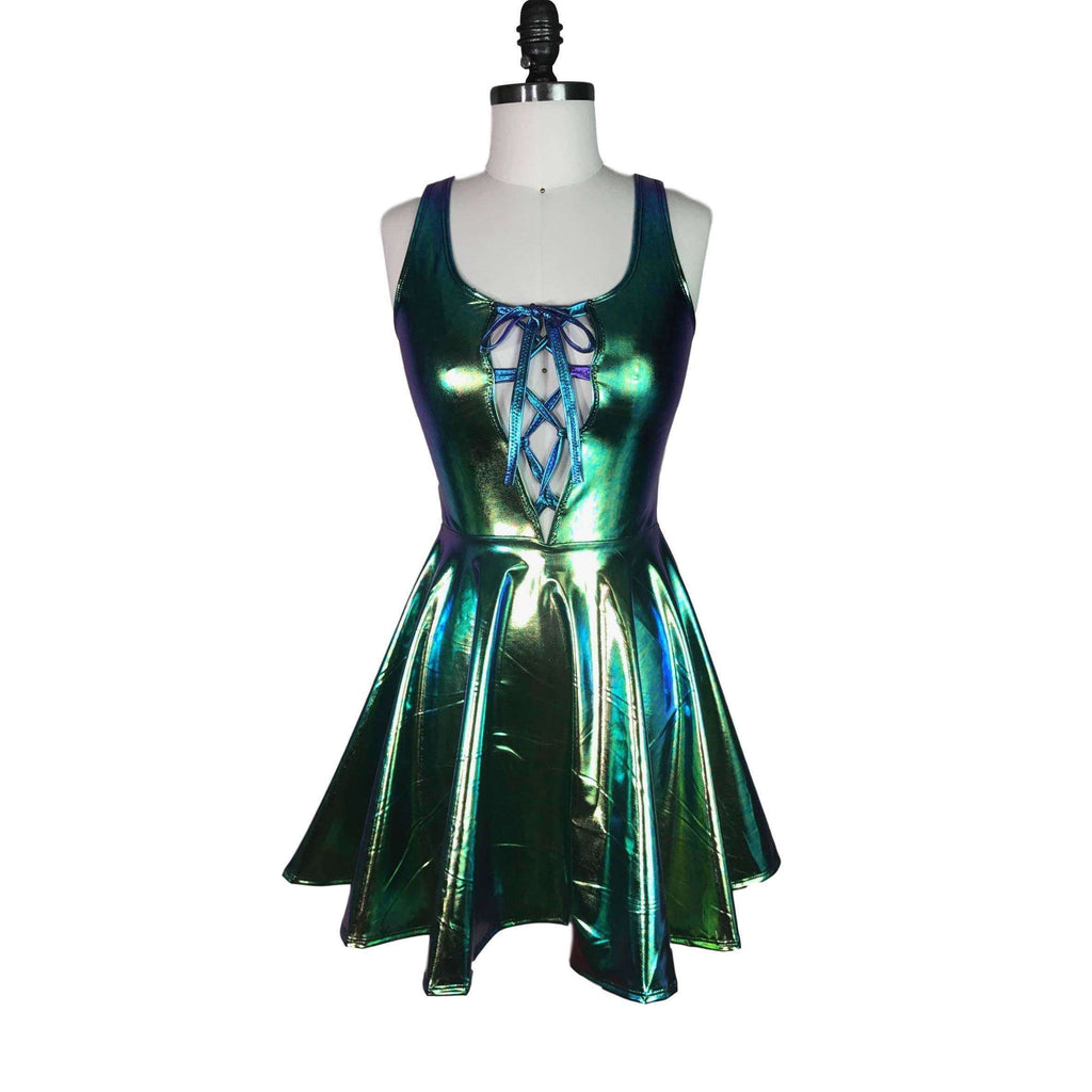 Lace-Up Holographic Oil Slick Skater fit n flare Dress - Peridot Clothing