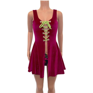 Lace-Up Open-Front Dress - Fuchsia Pink Velvet - Peridot Clothing