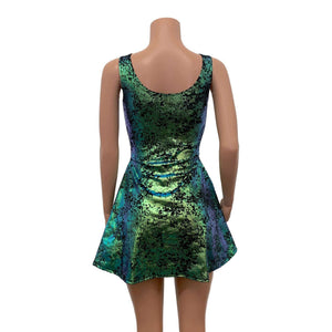 Lace-Up Open-Front Dress - Green on Black Gilded Velvet - Peridot Clothing