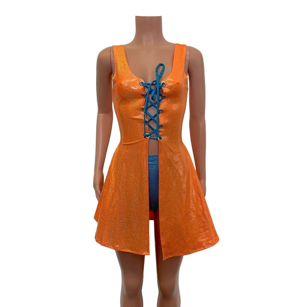 Lace-Up Open-Front Dress - Orange Sparkle - Peridot Clothing