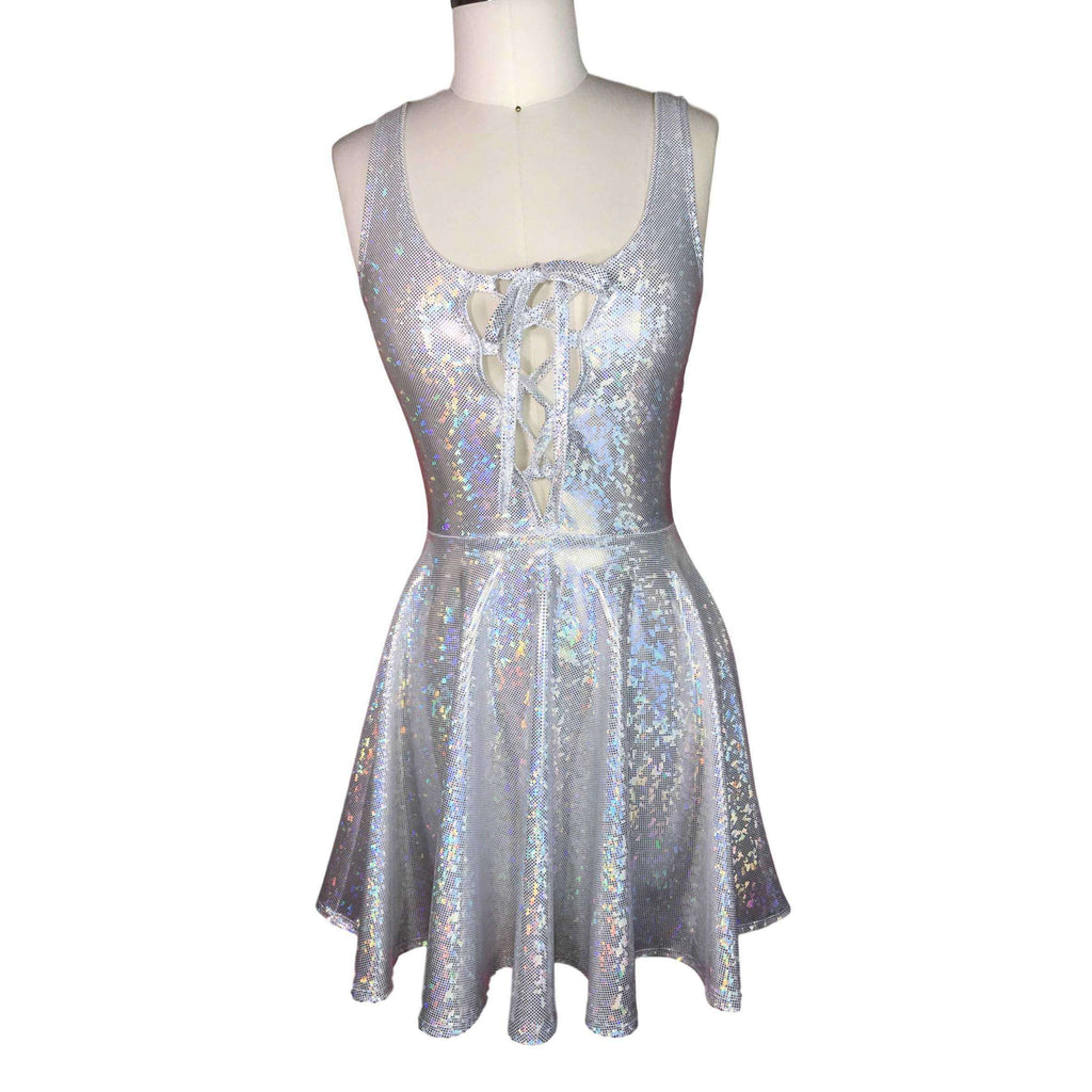 Lace-Up Silver Holographic Skater fit n flare Dress - Peridot Clothing