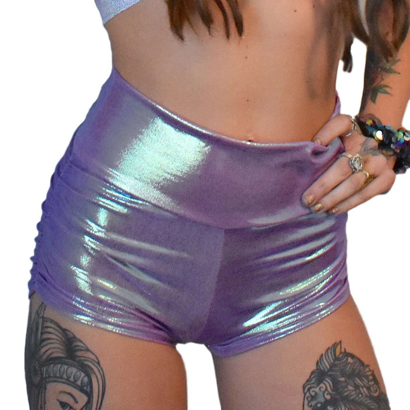 Lilac Iridescent Ruched Booty Shorts - Peridot Clothing